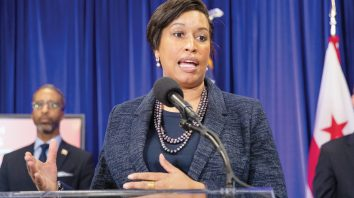District of Columbia Mayor Muriel Bowser speaks to reporters about coronavirus during a news conference, Friday, March 20, 2020, in Washington. District of Columbia announced Friday its first COVID-19 death. (AP Photo/Manuel Balce Ceneta)