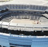 An empty MetLife Stadium in East Rutherford, New Jersey, is seen from the air on Monday, April 6, 2020. (AP Photo/Ted Shaffrey)