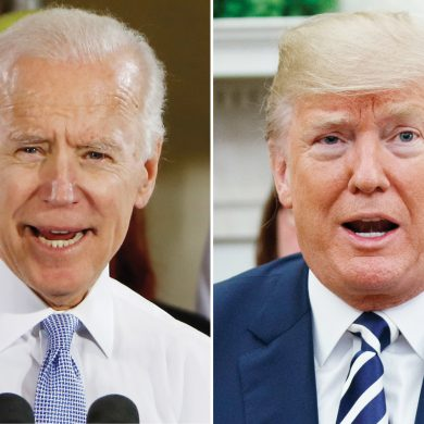 FILE - In this combination of file photos, former Vice President Joe Biden speaks in Collier, Pa., on March 6, 2018, and President Donald Trump speaks in the Oval Office of the White House in Washington on March 20, 2018. The Republican president and the former Democratic vice president are trading fighting words over who'd come out on top in a hypothetical matchup. At a University of Miami rally against sexual assault on Tuesday, Biden cited lewd comments that candidate Trump made in a 2005