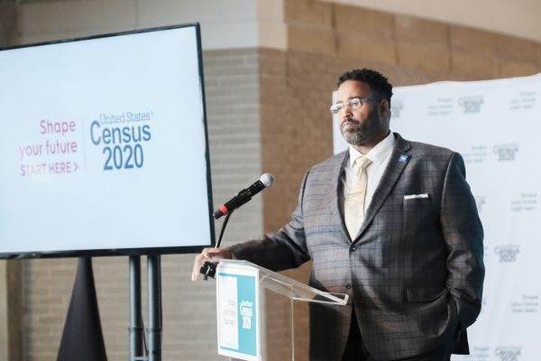 U.S. Census Bureau Chief Public Information Officer Michael C. Cook Sr. takes questions from the media during an event for the 2020 Census, at the Arena Stage, Tuesday, Jan. 14, 2020, in Washington. (AP Photo/Michael A. McCoy)