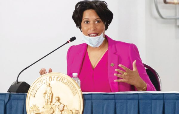 Mayor Muriel Bowser of Washington, DC, speaks during a press conference at a temporary field hospital at the Walter E. Convention Center in Washington, DC on May 11, 2020, featuring 437 beds for patients suffering from coronavirus, COVID-19, and part of the city's medical surge response plan as an alternate care site to assist hospitals. (Photo by SAUL LOEB / AFP) (Photo by SAUL LOEB/AFP via Getty Images)