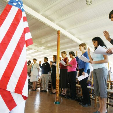 New citizens take the oath of allegiance during a naturalization ceremony on the steamship Ticonderoga at the Shelburne Museum in Shelburne, Vt., Monday, Sept. 17, 2007.(AP Photo/Toby Talbot)