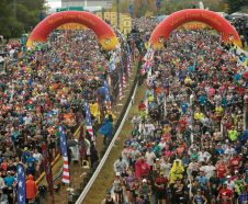 Runners start the 44th Marine Corps Marathon, in Arlington, Va., Sunday, Oct. 27, 2019. (AP Photo/Jose Luis Magana)