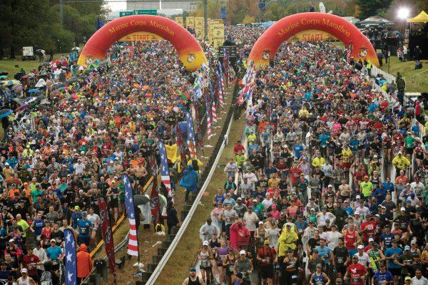 Runners start the 44th Marine Corps Marathon, in Arlington, Va., Sunday, Oct. 27, 2019. (AP Photo/Jose Luis Magana)