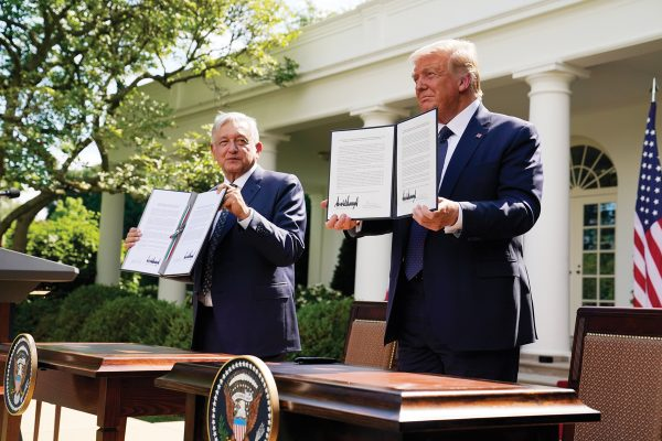 President Donald Trump and Mexican President Andres Manuel Lopez Obrador pose for photos after signing a joint declaration at the White House, Wednesday, July 8, 2020, in Washington. (AP Photo/Evan Vucci)