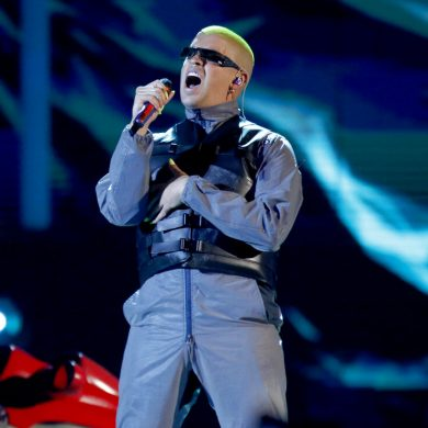 FILE - Bad Bunny performs a medley at the Billboard Latin Music Awards in Las Vegas on April 25, 2019. The Billboard Latin Music Awards announced that they will hold their awards on Oct. 21 after being delayed due to the pandemic. Bad Bunny received 14 nominations, including one for artist of the year. (Photo by Eric Jamison/Invision/AP, File)