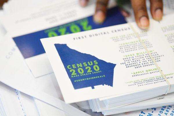 Una papeleta del censo 2020 de Estados Unidos mostrada durante una asamblea p√∫blica en Georgia. (AP Foto/John Amis, Archivo)